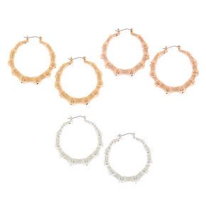Mixed Metal Bamboo Hoop Earrings - 3 Pack,