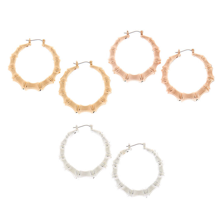 Mixed Metal Bamboo Hoop Earrings - 3 Pack,