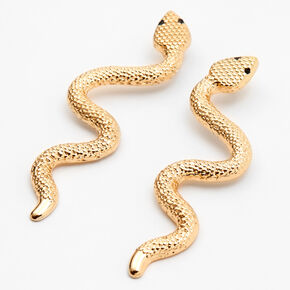 "Gold 2.75"" Textured Snake Drop Earrings,"