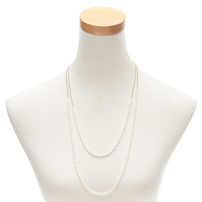 Pearl & Glass Rhinestone Multi Strand Necklace,