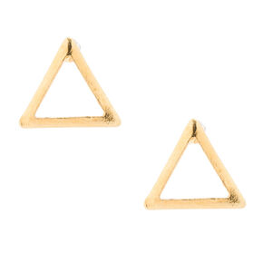 18kt Gold Plated Gold Open Triangle Stud Earrings,