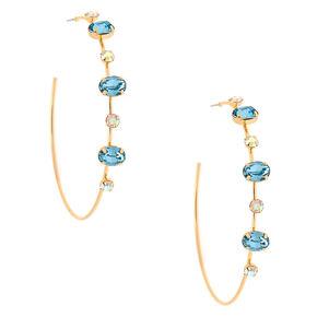 Gold 60MM Opal Stone Hoop Earrings - Blue,