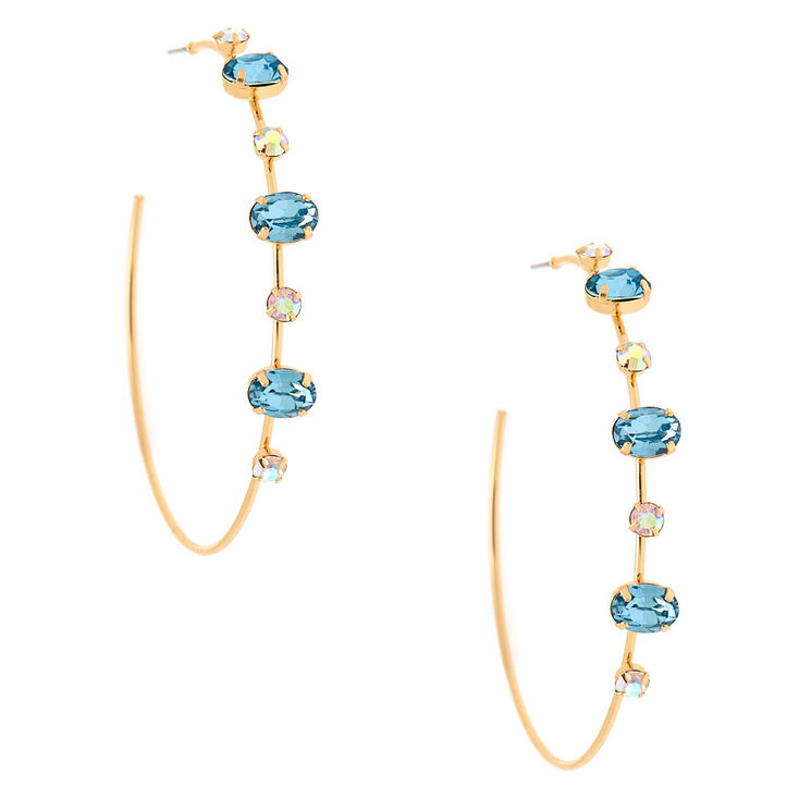 Gold 60MM Opal Stone Hoop Earrings - Blue,
