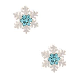 Sterling Silver Crystal Snowflake Stud Earrings - Blue,