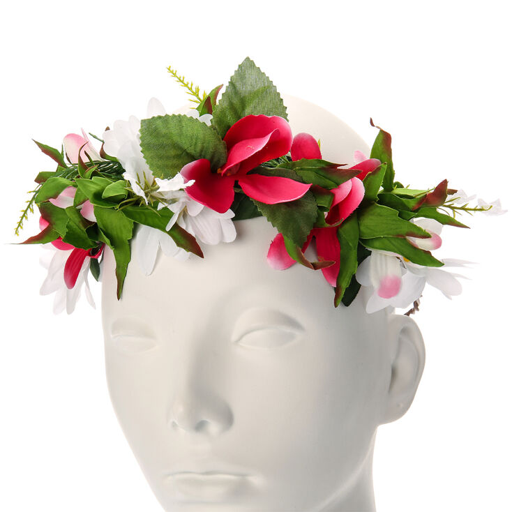 Daisy & Lily Flowers Garland Headwrap,
