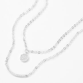 Silver Disc & Bar Cubic Zirconia Multi Strand Necklace,