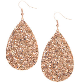 "Rose Gold 2"" Glitter Teardrop Drop Earrings,"
