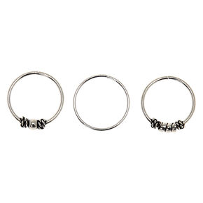 Sterling Silver 21G Bali Beaded Hoop Nose Rings - 3 Pack,