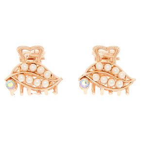 Rose Gold Pearl Leaf Mini Hair Claws - 2 Pack,