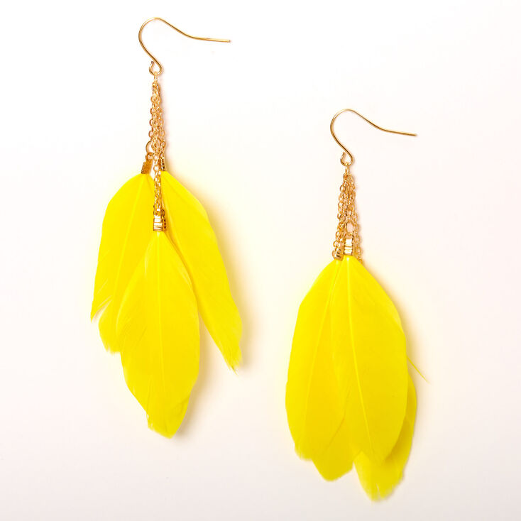 """Gold 3.5"""" Chain Feather Drop Earrings - Yellow,"""