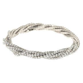 Silver Rhinestone Twist Stretch Bracelet,