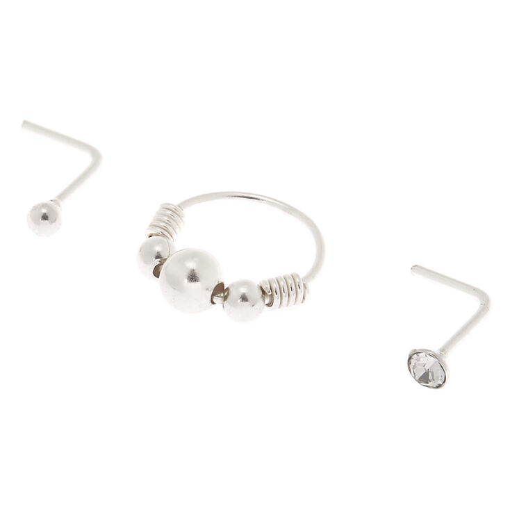 Sterling Silver 22G Beaded Hoop Stud Nose Earring - 3 Pack,