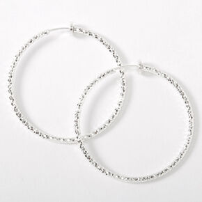 Silver 40MM Laser Cut Spring Clip Hoop Earrings,