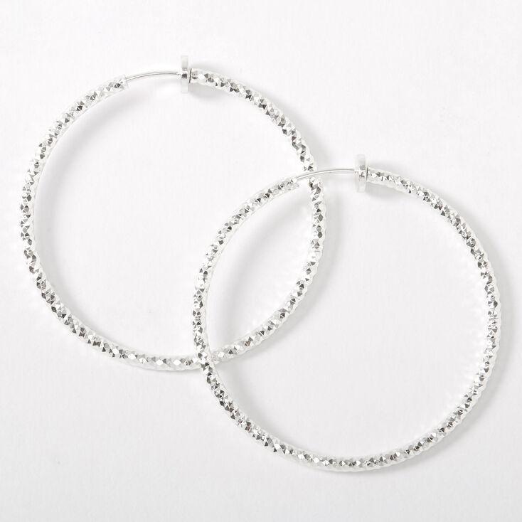 Silver 40MM Laser Cut Spring Clip Hoop Earrings,
