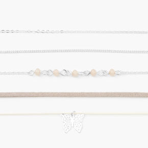 Silver Beaded Butterfly Choker Necklaces - Gray, 5 Pack,