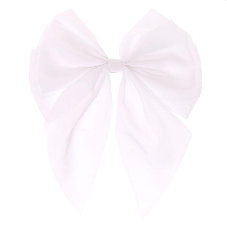 Jumbo White Chiffon Bow Hair Clip,