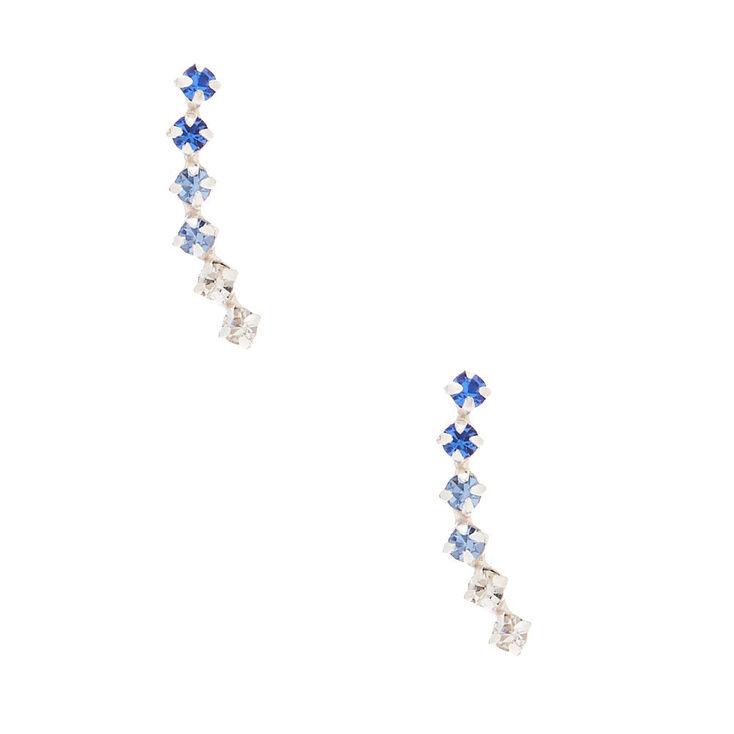 Sterling Silver Ombre Stone Ear Crawler Earrings - Blue,