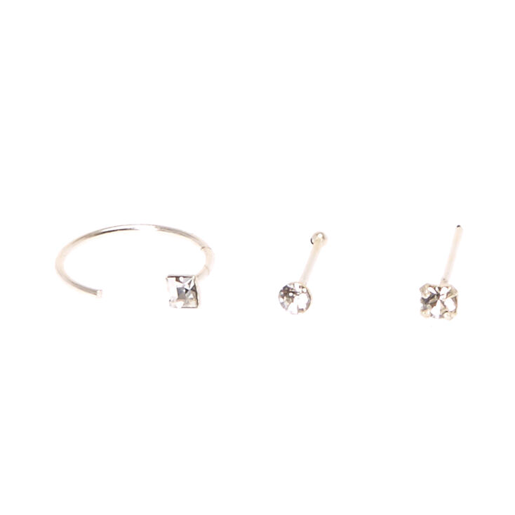 Sterling Silver Studs And Square Half Hoop Nose Rings,