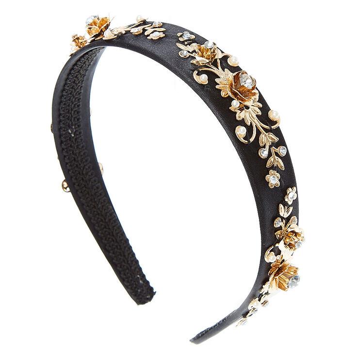Black Baroque Gold  & Faux Pearl  & Crystal Headband,