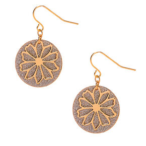 "Gold 1"" Flower Glitter Drop Earrings,"