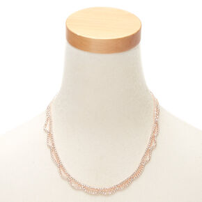 Rose Gold Rhinestone Scalloped Statement Necklace,
