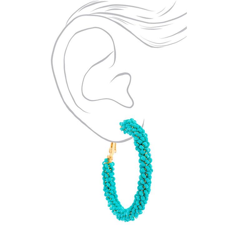 Gold 50MM Beaded Hoop Earrings - Turquoise,