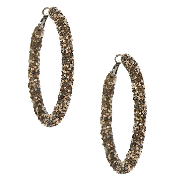 Hematite 60MM Crystal Hoop Earrings,
