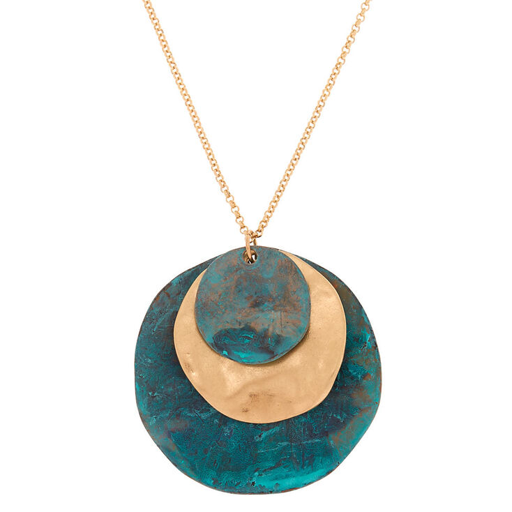 Patina Disk Long Pendant Necklace,