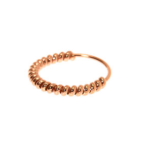 Sterling Silver Rose Gold 22G Rope Hoop Nose Ring,