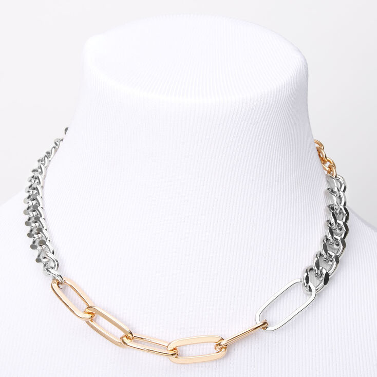 Chunky Two Tone Necklace Mixed Metals Necklace Chunky Silver Necklace Hammered Silver Gold Necklace