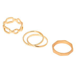 Gold Geometric Chain Rings - 4 Pack,