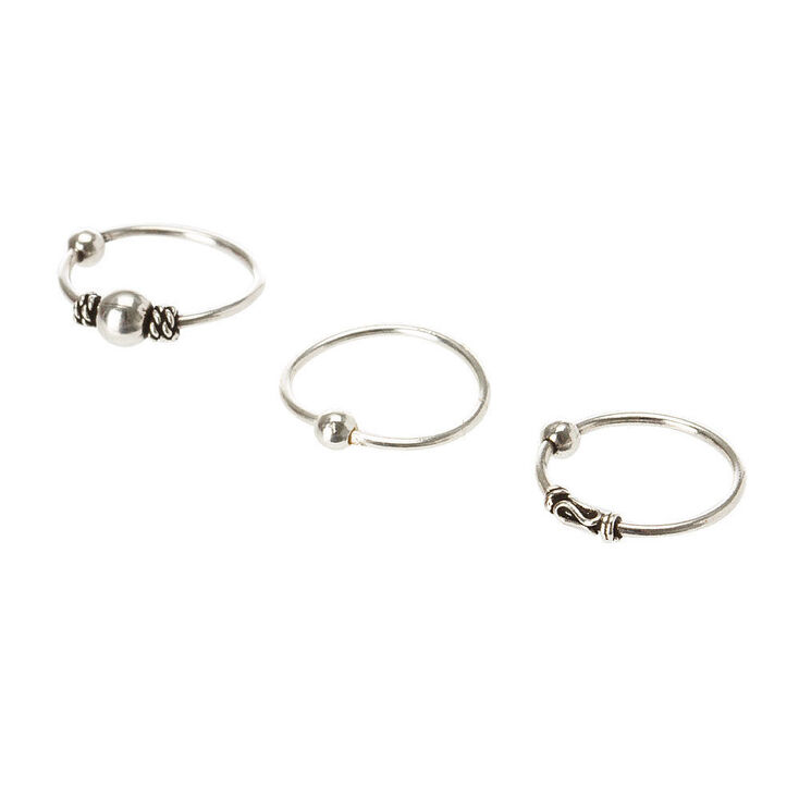Silver 20G Boho Chic Nose Hoops & Studs - 6 Pack,