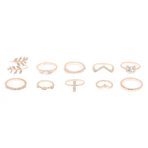 Rose Gold Embellished Rings - 10 Pack,