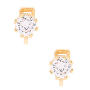 Gold Cubic Zirconia 8MM Round Clip On Stud Earrings,