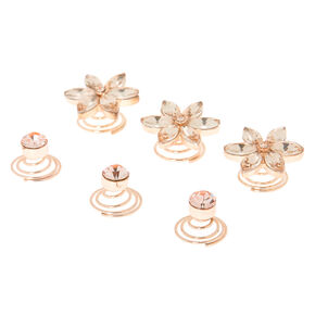 Rose Gold Rhinestone Floral Hair Spinners - 6 Pack,