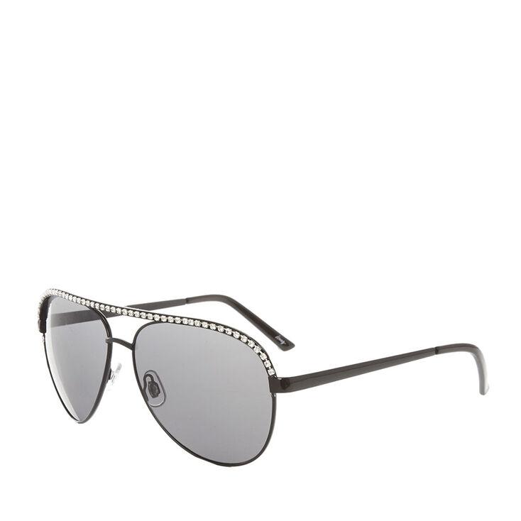 Crystal Black Aviator Sunglasses,