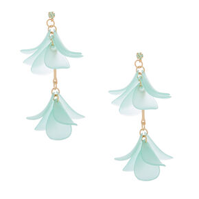 "Gold 2"" Flower Petal Drop Earrings - Green,"