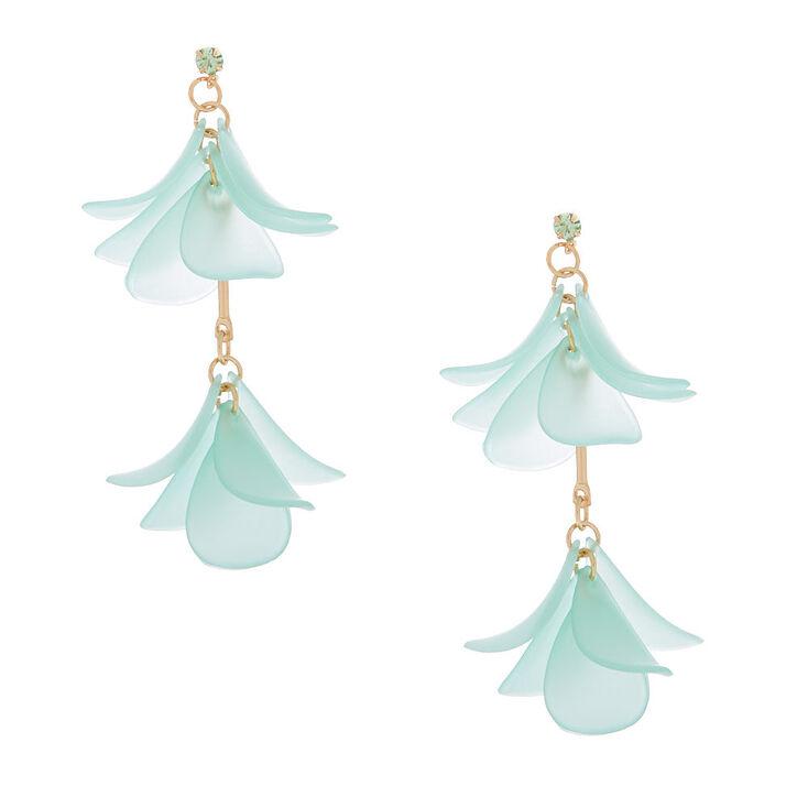 """Gold 2"""" Flower Petal Drop Earrings - Green,"""