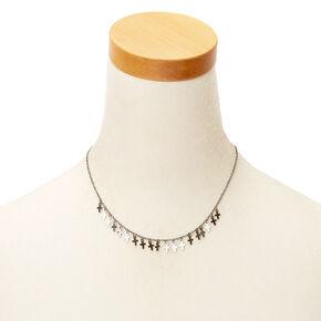 Hematite Mini Cross Statement Necklace,