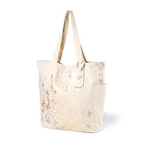 "Bridesmaid Canvas Tote Bag with ""M"" Initial Tag,"
