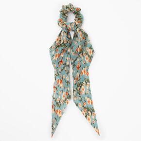 Small Pleated Floral Hair Scrunchie Scarf - Seafoam,