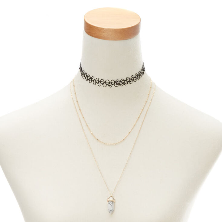 Marble Stone Necklace Set,