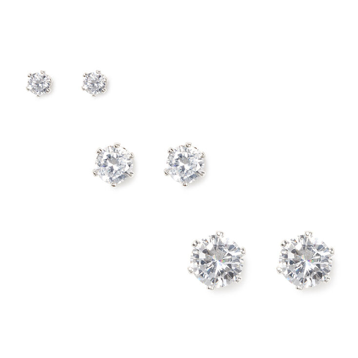 Silver Cubic Zirconia Graduated Large Round Stud Earrings - 3 Pack,