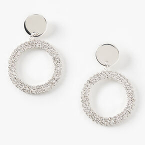 "Silver 1.5"" Glass Rhinestone Circle Drop Earrings,"