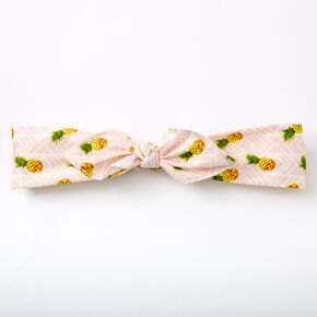 Pineapple Striped Knotted Bow Headwrap - Pink,
