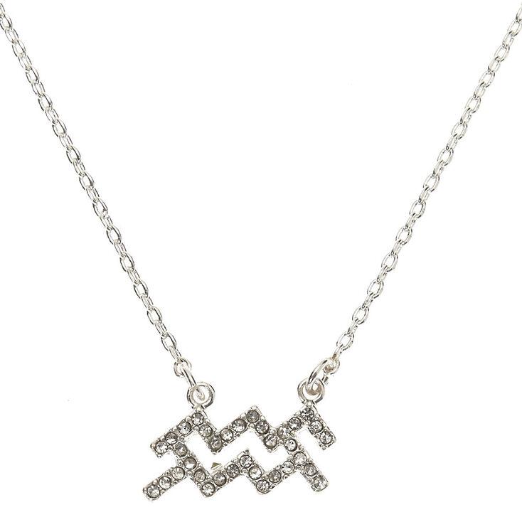 Silver Zodiac Pendant Necklace - Aquarius,