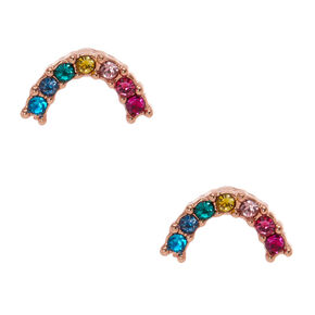 18kt Gold Plated Rainbow Horseshoe Stud Earrings,