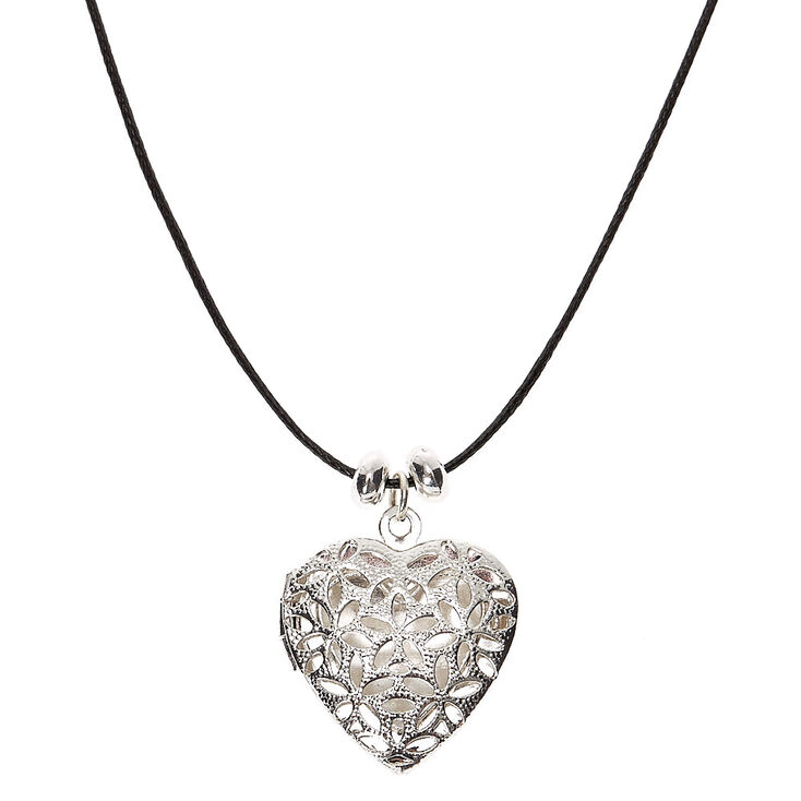 Silver Filigree Heart Locket Pendant Necklace,