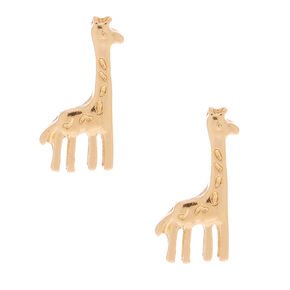 Gold Giraffe Stud Earrings,
