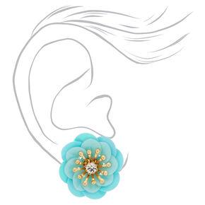 Sequin Iridescent Flower Stud Earrings - Mint,